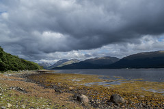 From the little beach with Ferry House (sunsetbeach) Tags: scotland loch rollinghills creran biggreyclouds