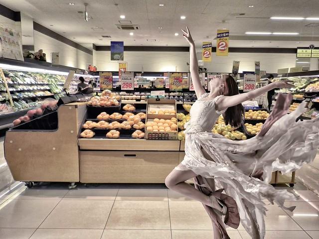 glamour surrealism dancer supermarket