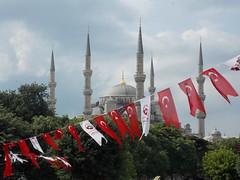 Blue Mosque (Sultan Ahmed Mosque) DSCN0262 (currenfrasch) Tags: turkey minaret flag banner culture istanbul mosque flags bluemosque turkish sultanahmetcamii sultanahmedmosque