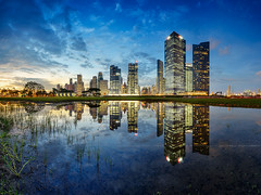 Beyond the Boundary (Scintt) Tags: singapore marina bay mbs cbd raffles place city hall cityscape skyline shenton way tanjong pagar lights twilight night evening sunset afterglow dusk travel tourism dramatic surreal modern urban structure architecture buildings long exposure slow shutter blue hour golden colours vibrant central business district financial centre skyscrapers sky sun clouds epic stitched panorama scintillation scintt ecp east coast expressway highway pond lake reflection mirror symmetry