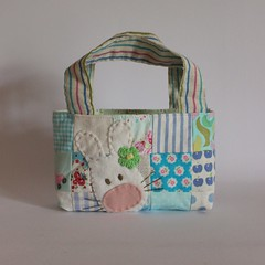 Easter bag patchwork blues green flower1 (Roxy Creations) Tags: rabbit bunny bag handmade gift patchwork applique tote handembroidered eastereggbasket