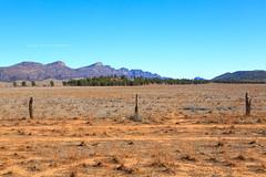 Flinders Ranges (john white photos) Tags: blue mountains fence desert flat australian dry australia bluesky outback remote southaustralia flindersranges wilpenapound {vision}:{outdoor}=099 {vision}:{mountain}=0655 {vision}:{clouds}=0581 {vision}:{ocean}=0509 {vision}:{beach}=0567 {vision}:{sky}=0832