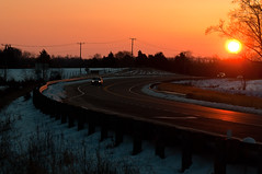 14-585 (George Hamlin) Tags: road sunset sun snow tree virginia photo pavement route 28 guardrail decor setting midland glint