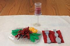 Lobster Dinner (jsnyder002) Tags: lego lobster moc creation build model dinner fancy cup design method technique silverware fork lobsterfork salad lemon plate