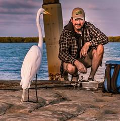 Mystique of the Fisherman (JDS Fine Art Photography) Tags: egret heron bird fisherman beach ocean fishing portrait naturalportrait environmentalportrait animalman interactionwithnature