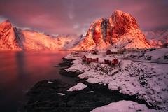 Rescates de Lofoten, the reed cabins (sgsierra) Tags: lofoten islas island noruega norway phototravel pink rosa amanecer sunrise color fiordo agua