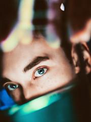 91 (photoshepherd) Tags: portrait self selfie water blue cyan fingers eyes focus experimental