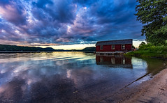 Quiet Cove (Kurt Evensen) Tags: boathouse calm mirror reflection sailboat tranquillity quiet weather austagder clouds fjord still beach maritime risør vivid sunset sea silence sky norway cove shore harbour water no