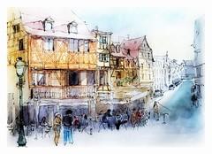 Colmar - Alsace - France - pl de la Sinn - rue des têtes (guymoll) Tags: colmar alsace france ville colombages personnages people watercolour aquarelle watercolor