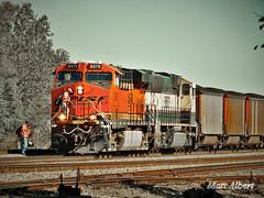 BNSF crew change (Midwest_Matt9720) Tags: bnsf coal emd ge kansas 2016 sd70mac es44 swoosh ogex rail light fall color warm abstract executive grinstein