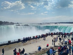 Tourists at Niagara Falls (pmvarsa) Tags: water niagara falls niagarafalls waterfall ontario canada cans2s niagararegion tourism sky river niagarariver tourists mist spray clouds april 2017 spring offseason cellphone blackberry priv blackberrypriv