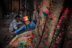 Jaipur (Roberto Farina Travel Photography) Tags: india asia jaipur holifestival robertofarina rajasthan men tinted turban religion hinduism tree