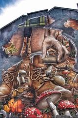 "Part of the ""Fellow Glasgow Residents"" mural, (Street Art) (alison2mcewan) Tags: fellow glasgow residents street art smug sam bates artist ingram stgreet merchant city mural fresco outdoor centre park wildlife green spaces"