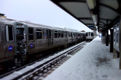 iceboxes (KevinIrvineChi) Tags: chicago chicagoist chicagotransit chicagotransitauthority publictransit publictransport train trains rail railroad railroadtracks railcar rapid heavy urban curbedchicago damen station brownline cta ctabrownline ctatrain city snow snowy snowcovered platform traintracks trainplatform commuter commuters canopy cloudy snowing winter 2017 sony dscrx100 tiltshift miniature blurred effect photo ravenswood illinois