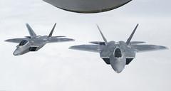170411-F-HA049-001 (Official U.S. Air Force) Tags: usaf airforce usairforcescentralcommand afcent centcom centralcommand da'esh isil combinedjointtaskforceoperationinherentresolve cjtfoir oir 340thexpeditionaryairrefuelingsquadron 340hears aerialrefueling f22 raptor kc135 stratotanker iraq isis iq