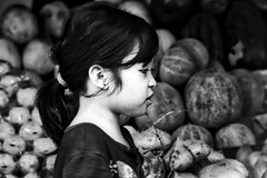 Girl (Beegee49) Tags: blackandwhite girl filipina fruit young street city bacolod philippines