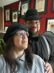 Just an old-fashioned couple (Falashad) Tags: bowlerhat tie suspenders gray