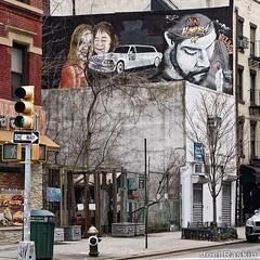 Avenue B Scene (Joel Raskin) Tags: streetscene avenueb eastvillage alphabetcity mural tribute urban lumixg85 nyc manhattan city citylife graffiti streetart