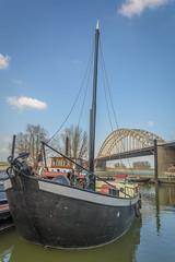 at anchor (stevefge) Tags: nijmegen gelderland boats mast anchor reflectyourworld reflections bridges water waal waalbrug nederland netherlands nl nederlandvandaag