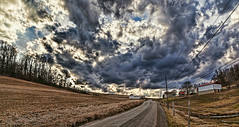 IMG_0534-35PCtzl1scTBbLGER (ultravivid imaging) Tags: ultravividimaging ultra vivid imaging ultravivid colorful canon canon5dmk2 clouds sunsetclouds stormclouds earlyspring farm fields rural scenic vista evening pennsylvania pa panoramic trees road barn rainyday