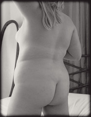 Feint (Au_Naturale_Light) Tags: butt booty ass naked nude woman girl prime sensual sexy sexuality sensuality skin body undressed unclothed secret bedroom blackandwhite monochrome blond pose model exposed erotic erotica eroticism boudoir plus curves