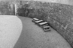 IMG_2677_8_9_a_bw_800 (band68uk) Tags: canoneos5dmark2 martello tower brick courtyard benches seating recreation bw seaford east sussex monochrome shadow