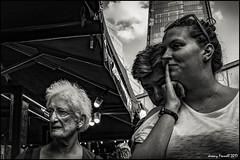 Choosing food at Borough Market (zolaczakl) Tags: london mono monochrome blackandwhite southwalk boroughmarket cathedralstreet theshard people uk market cityscenes photographybyjeremyfennell fujix100s april 2017 jeremyfennellphotography jeremy fennell photography