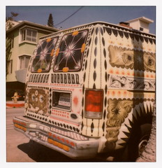 Art Van (tobysx70) Tags: the impossible project tip polaroid sx70sonar sonar instant color film for sx70 type cameras impossaroid art van beachwood drive canyon hollywood hills los angeles la california ca ford econoline painted decorated artistic red taillight license plate bumper rear window shadow fire hydrant toby hancock photography