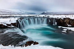 Waterfall of the Gods (MRC Imagery) Tags: godafoss waterfall water clouds cloudy cold ice iceland winter snow rocks longexposure akureyri nature canon 1635mm 5dmk3