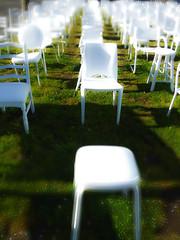 185 Empty White Chairs - Earthquake Memorial (Steve Taylor (Photography)) Tags: 185 empty whitechairs earthquake memorial stool art digital sculpture bright green white newzealand nz southisland canterbury christchurch city cbd grass bokeh chair