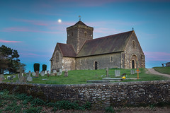 St Marthas and the Moon (Michael Sowerby Photography) Tags: england evening northdowns stmarthas stmarthasmount sunset surrey surreyhills uk dusk pink whisps moon moonrise church chapel north downs canon 5dsr 2470mm f28l ii clouds