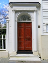 "The piazza screen (aka, the ""front door""), 15 Legare Street (c.1772), Charleston, SC (Spencer Means) Tags: dwwg door architecture antebellum doorway frame piazza screen front legare street charleston sc southcarolina broad south below window fan light classical greek column capital"