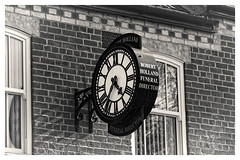 Old Father Time (Myrialejean) Tags: clock funeraldirector grantham robertholland time tick blackandwhite monochrome d7200 brick wall window gutter hands timepiece chrono numerals