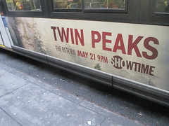 Twin Peaks - The Return Bus AD Billboard Poster 4749 (Brechtbug) Tags: twin peaks the return bus ad billboard poster agent dale cooper kyle maclachlan mystery 90s show showtime type mysteriuos bird birds owl owls may 05212017 9pm 2017 what they seem that gum you like is going come back style finally already new york city streets