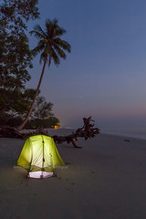 Camping on the Beautiful and Quiet Beach at Night. (baddoguy) Tags: adventure beach beautyinnature blue camping castaway coastline coconutpalmtree colorimage copyspace empty famousplace horizon horizonoverwater humansettlement idyllic igniting journey landscape leisureactivity night nopeople outdoorpursuit outdoors pacificocean photography sand sea seascape shorelineamphitheatre silhouette singleobject sky sleeping solitude survival thailand tranquilscene transparent tratprovince travel tree twilight unusualangle vertical water webbanner