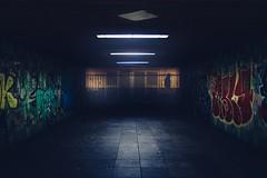 Creeping at the Wall (HatCat Photography) Tags: city street blue night urban lights art black dark germany darkness dirty graffity mannheim badenwürttemberg