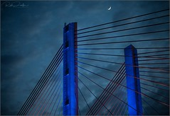 **RISE ABOVE** (**THAT KID RICH**) Tags: richzoeller rich zoeller thatkidrich tkr moon bridge brooklyn queens bqe kosciuszko new clouds dusk nightphotography ny nyc newyork newyorkcity lights led supsension history project canon 5dm2 sigma blue