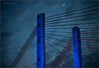 **RISE ABOVE** (Rich Zoeller Photography) Tags: richzoeller rich zoeller thatkidrich tkr moon bridge brooklyn queens bqe kosciuszko new clouds dusk nightphotography ny nyc newyork newyorkcity lights led supsension history project canon 5dm2 sigma blue fineart