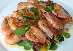 Prawns & Chicory, Watercress, Chilli (Tony Worrall Foto) Tags: uk sea england food hot fun photo dish image north cook shell tasty plate prawns eaten eat chef seafood taste cooked bits seas foodie flavour sorted tasr eeaten 2013tonyworrall