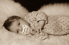 Silja Pacified (NicoCH80) Tags: baby sepia 50mm nikon newborn d5100