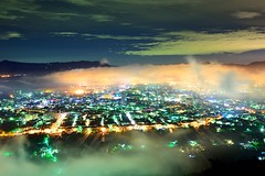 Foggy Townshop  (Vincent_Ting) Tags: city blue light sunset sky clouds sunrise foggy taiwan    seaofclouds