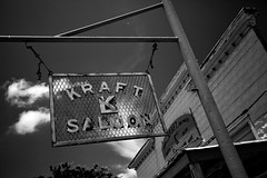 Grated (T-3 Photography) Tags: blackandwhite bw building monochrome sign bar canon texas post tx tavern saloon 1740mm kingsbury 5dmarkii