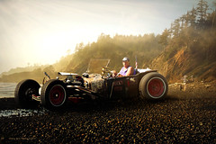 Rat Rod on Pacific Coast (Stacy Ann Young) Tags: ocean art beach oregon digital print coast rocks afternoon surreal ann hotrod prints ratrod artphotomanipulationautomobilestacy youngopen bucket1920smodel oceansunsetlate