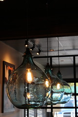 Large Glass Lights (mbsanchez0311) Tags: glass lightbulb architecture canon lights rustic minimal starbucks interiordesign minimalistic canoneosrebelt4i rusticlights