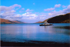 Corran ferry.3 (Ishbelle 31) Tags: blue trees sea white mountains seaweed ferry clouds reflections ship shadows