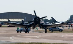 'Red Bull' Corsair (MJ_100) Tags: plane airplane flying fighter display aircraft aviation wwii navy aeroplane airshow ww2 corsair naval usnavy redbull f4 arrivals secondworldwar fairford riat f4u vought 2013
