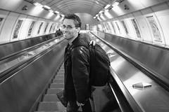 Vlad at Muzeum (koalie) Tags: bw station underground subway prague metro escalator nb czechrepublic muzeum vlad vv06 hlavnmstopraha 201304prague