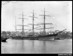 Image of a four masted barque LYDERHORN at anchor (Australian National Maritime Museum on The Commons) Tags: star bay sailing sydney casino pyrmont sydneyharbour 1892 lyderhorn sailingvessel jersbek williamhall williamhallcollection troswaldcomilfordhaven tonnage2914grt shieldsdailygazette9thseptember1901