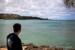 Watching in the Distance Hawaii (Julie Thurston) Tags: ocean life family vacation beach beauty mom hawaii bay jumping sand paradise waves oahu turtle teal mother cancer son special hawaiian tropical aloha motherandson lastdays turtlebay momandson