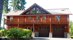 My Auntie and Uncle's little log cabin, street side, two stories, two garages, Hood Canal, Union, Washington, USA (Wonderlane) Tags: usa washington log cabin little auntie union uncles hoodcanal streetside 3451 my twostories twogarages myauntieanduncleslittlelogcabin